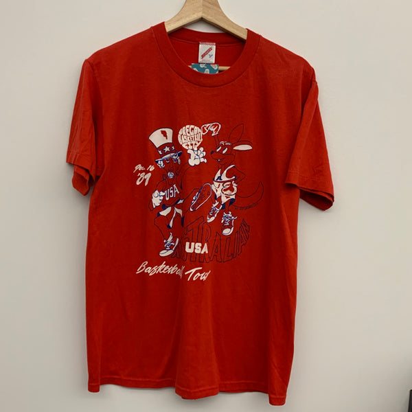 1987 Australian Basketball Tour Oregon City Red Tee Shirt