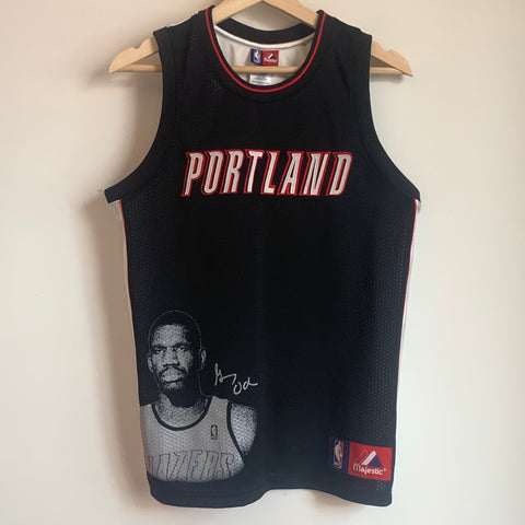 Majestic Greg Oden Portland Trail Blazers Photo Basketball Jersey