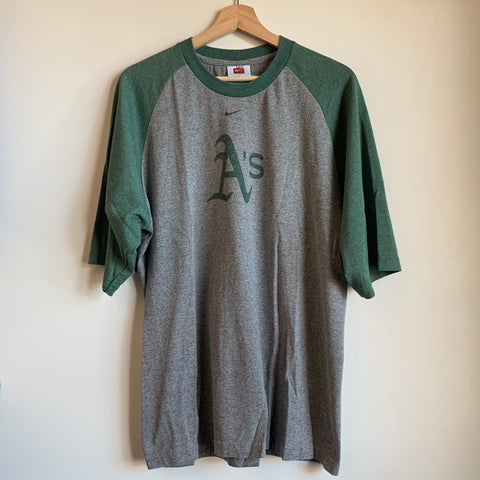 Nike Oakland Athletics Gray & Green Raglan Tee Shirt