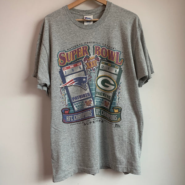 1997 Pro Player New England Patriots / Green Bay Packers Super Bowl Tee Shirt