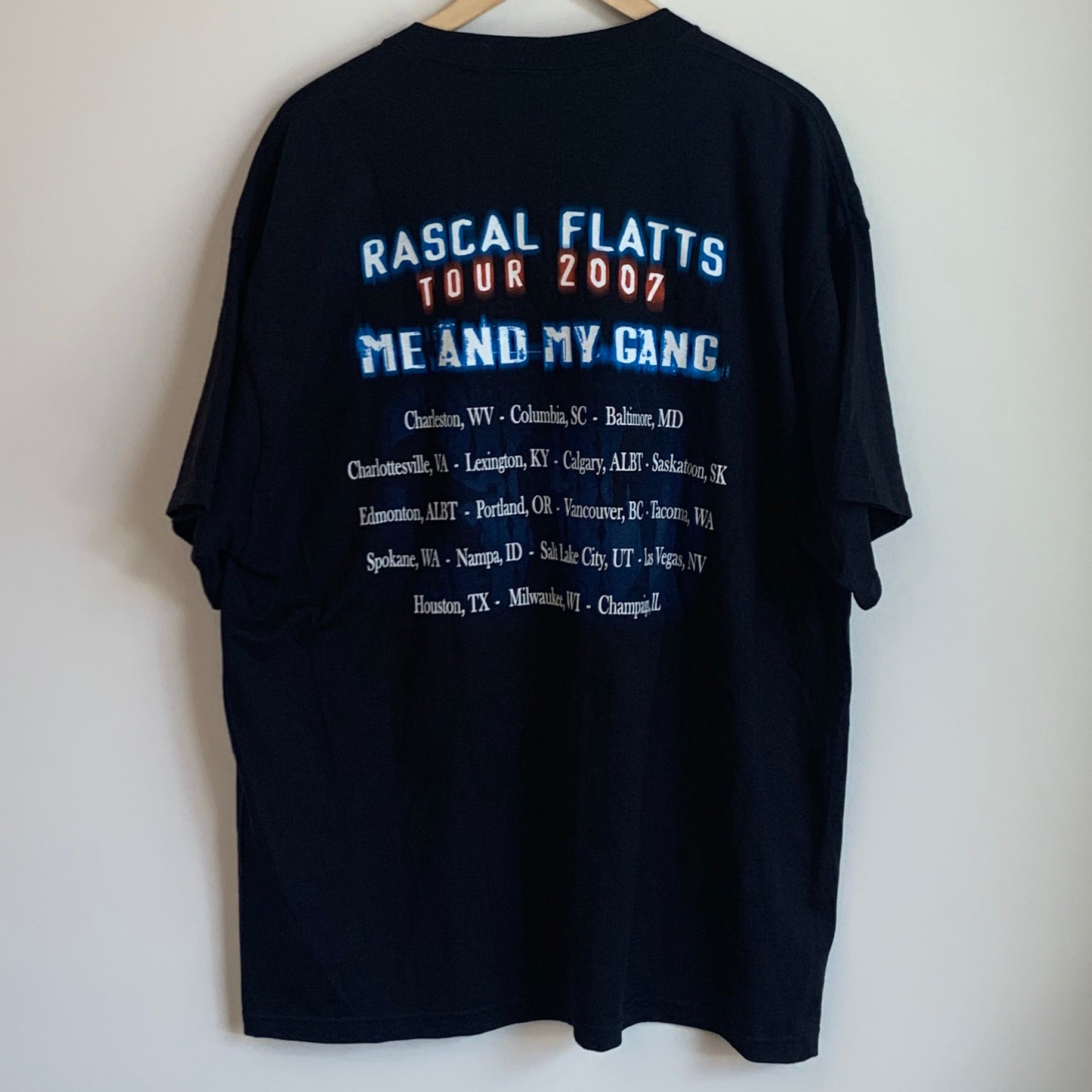 Rascal Flatts Me And My Gang 2007 Tour Black Tee Shirt