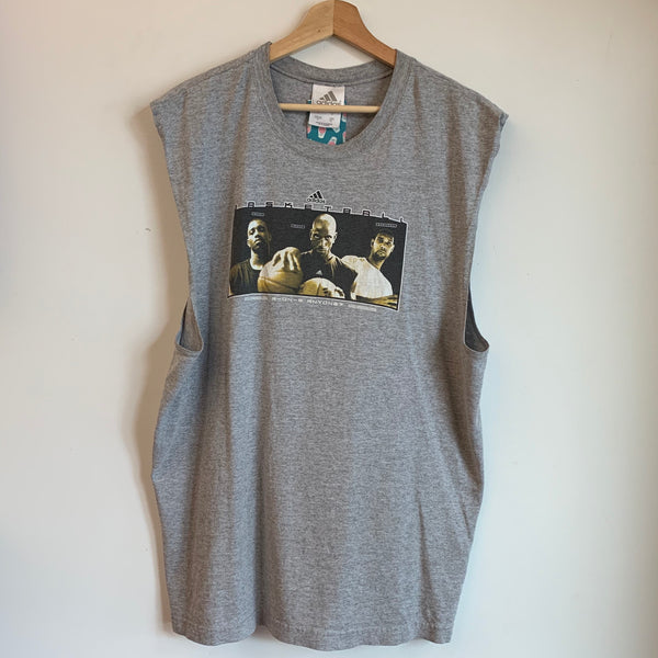 adidas Basketball McGrady Garnett Duncan Gray Sleeveless Tee Shirt
