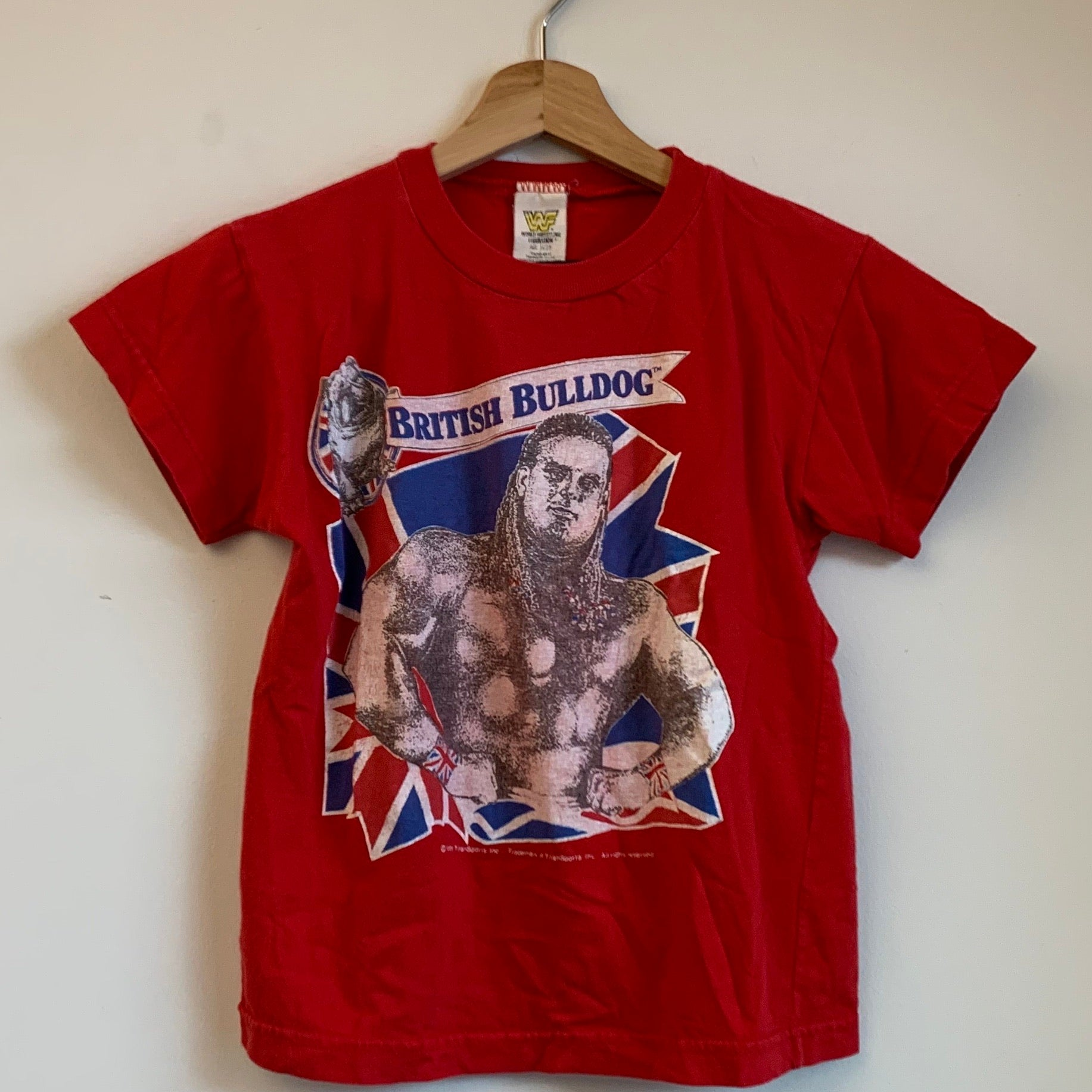 Youth WF British Bulldog Red/White/Blue Wrestling Tee