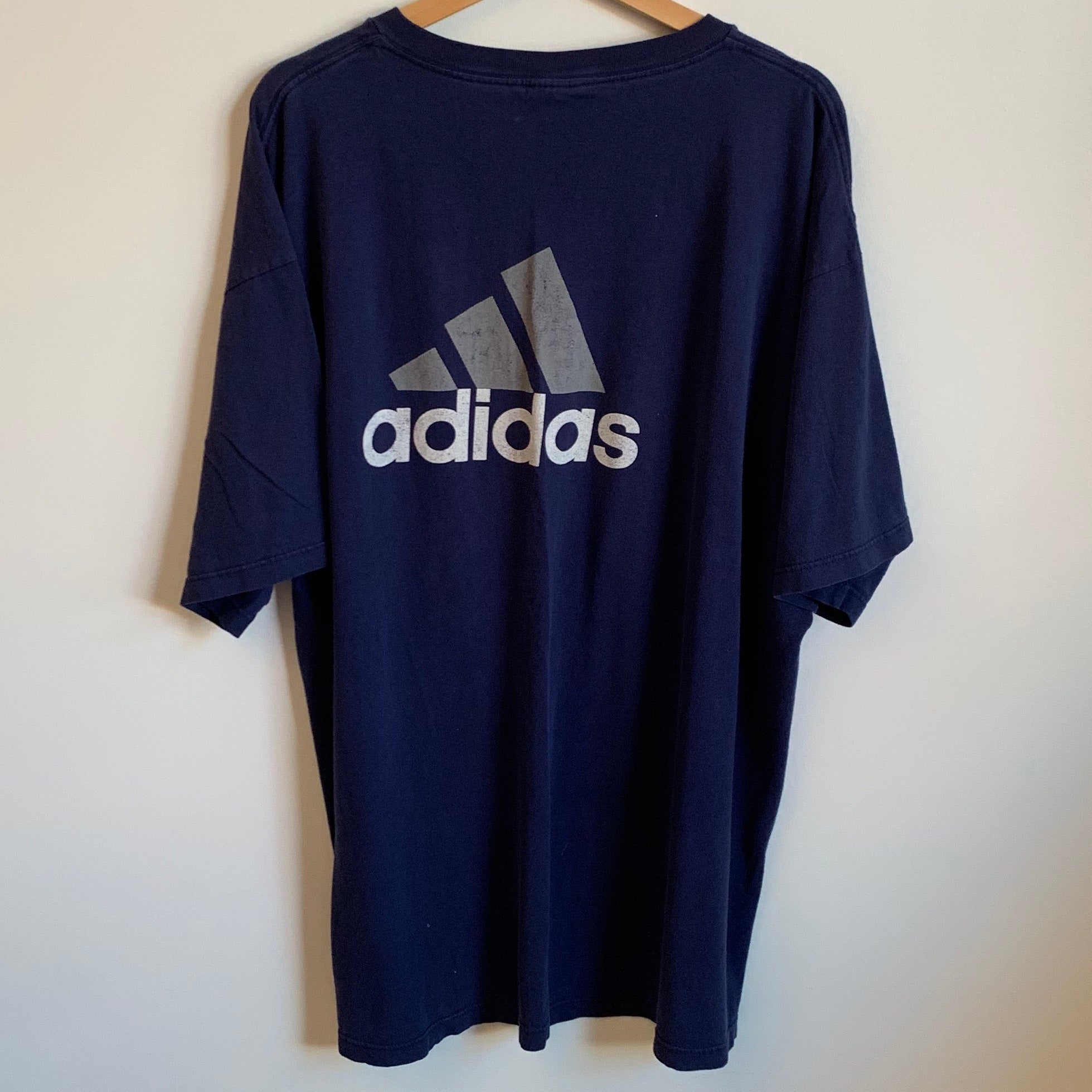 Adidas Big Logo Navy Pocket Tee Shirt