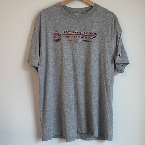 Champion Portland Trail Blazers The Time Is Now Gray Tee Shirt