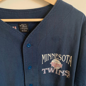 Front Row By Salem Sportswear Minnesota Twins Navy Baseball Jersey