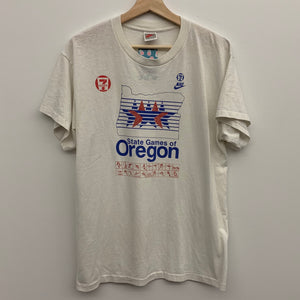Nike Gray Tag State Games of Oregon White Tee Shirt