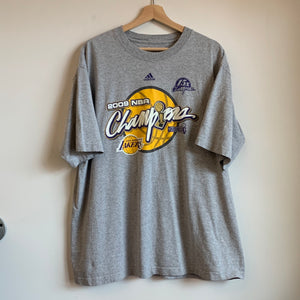 2009 adidas Los Angeles Lakers NBA Champions Gray Tee Shirt