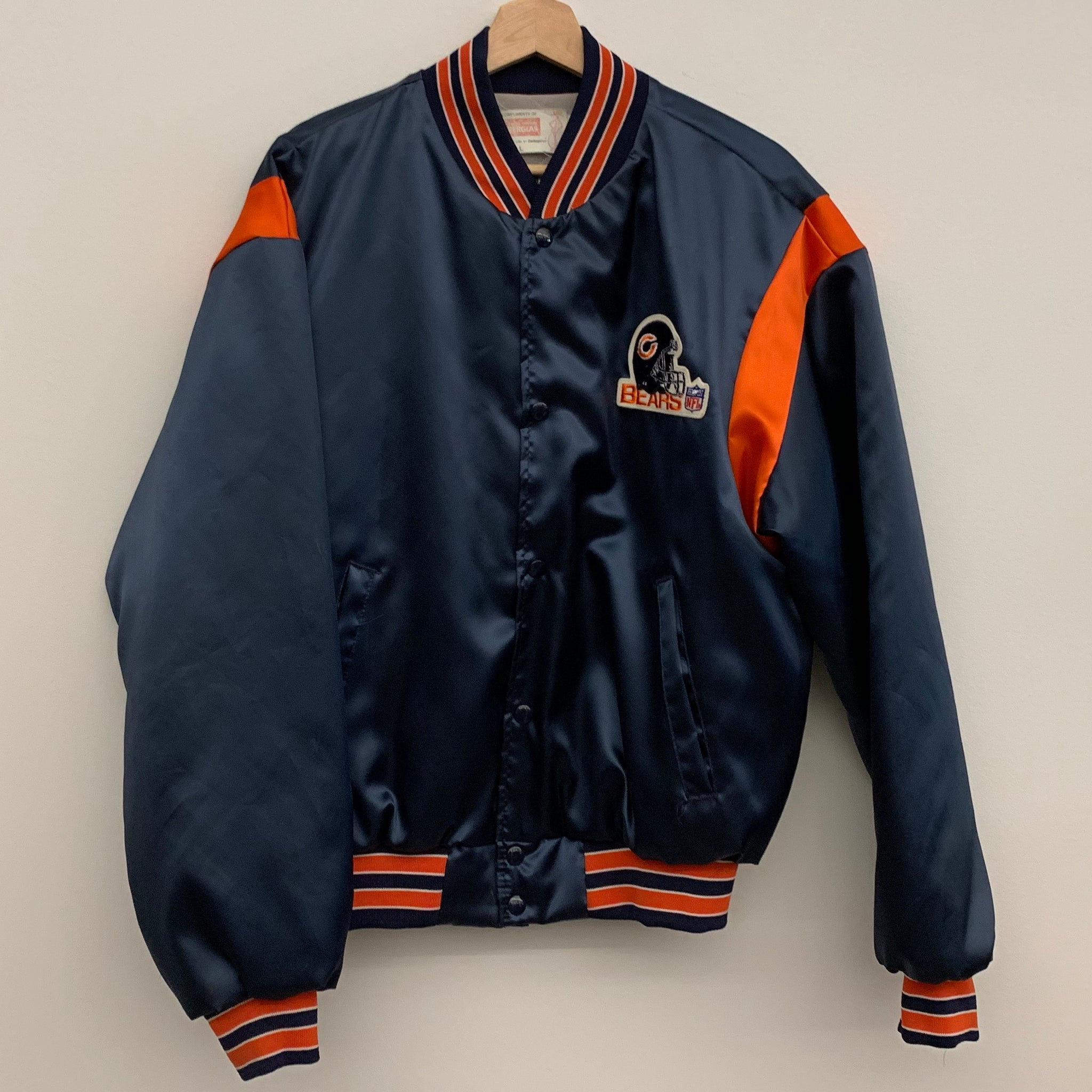 Swingster Chicago Bears Navy Satin Jacket