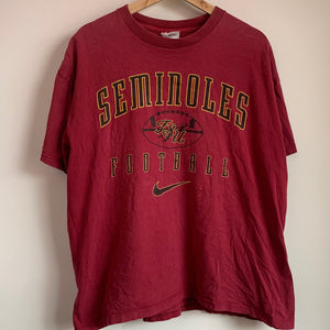 Nike White Tag Florida State FSU Seminoles Football Maroon Tee Shirt