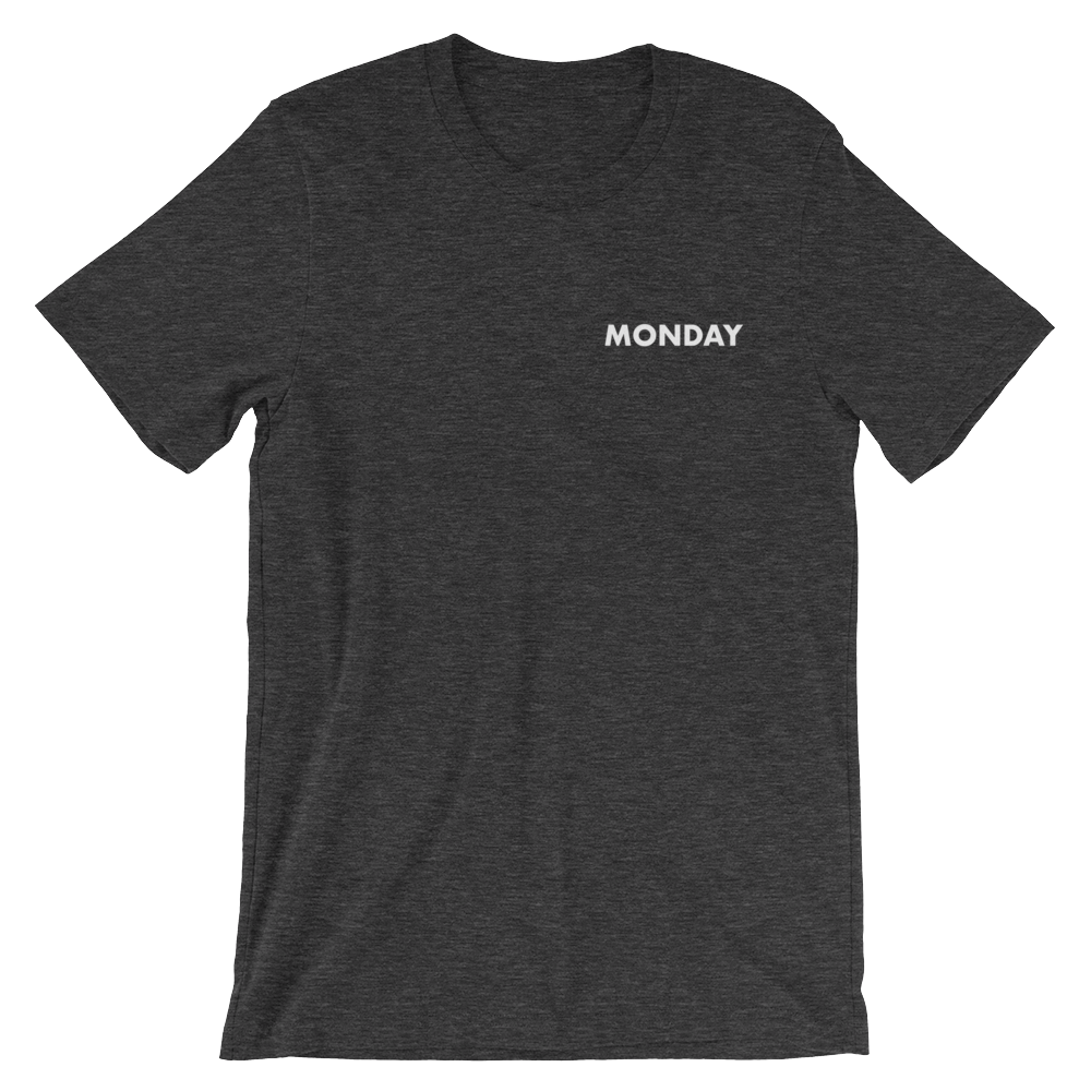 Dark gray heather Monday tee from Tees for Days