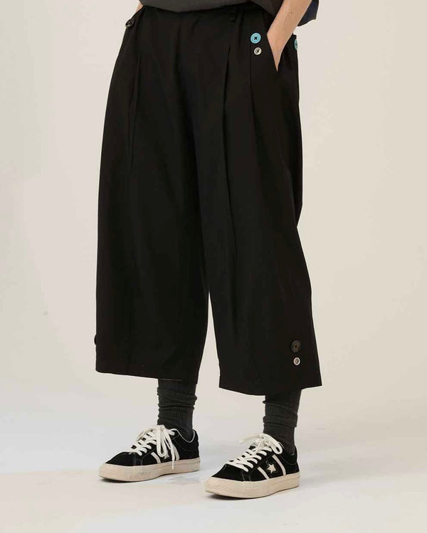 Black three dimensional cut pants