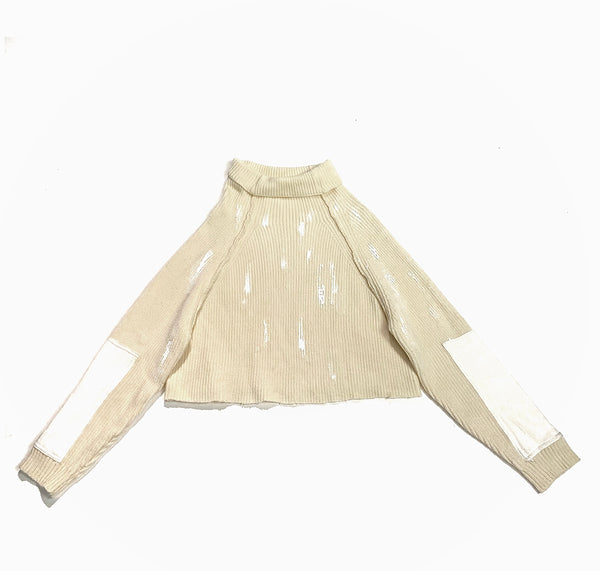 U3 Reworked Beige Cropped Turtleneck