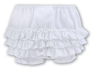 Sarah Louise 003760W White Frilly Knickers AW19