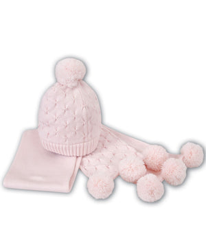 Sarah Louise 008052 Hat and Scarf Set Pink AW19