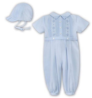 Sarah Louise 010846L Blue Christening Romper and Hat