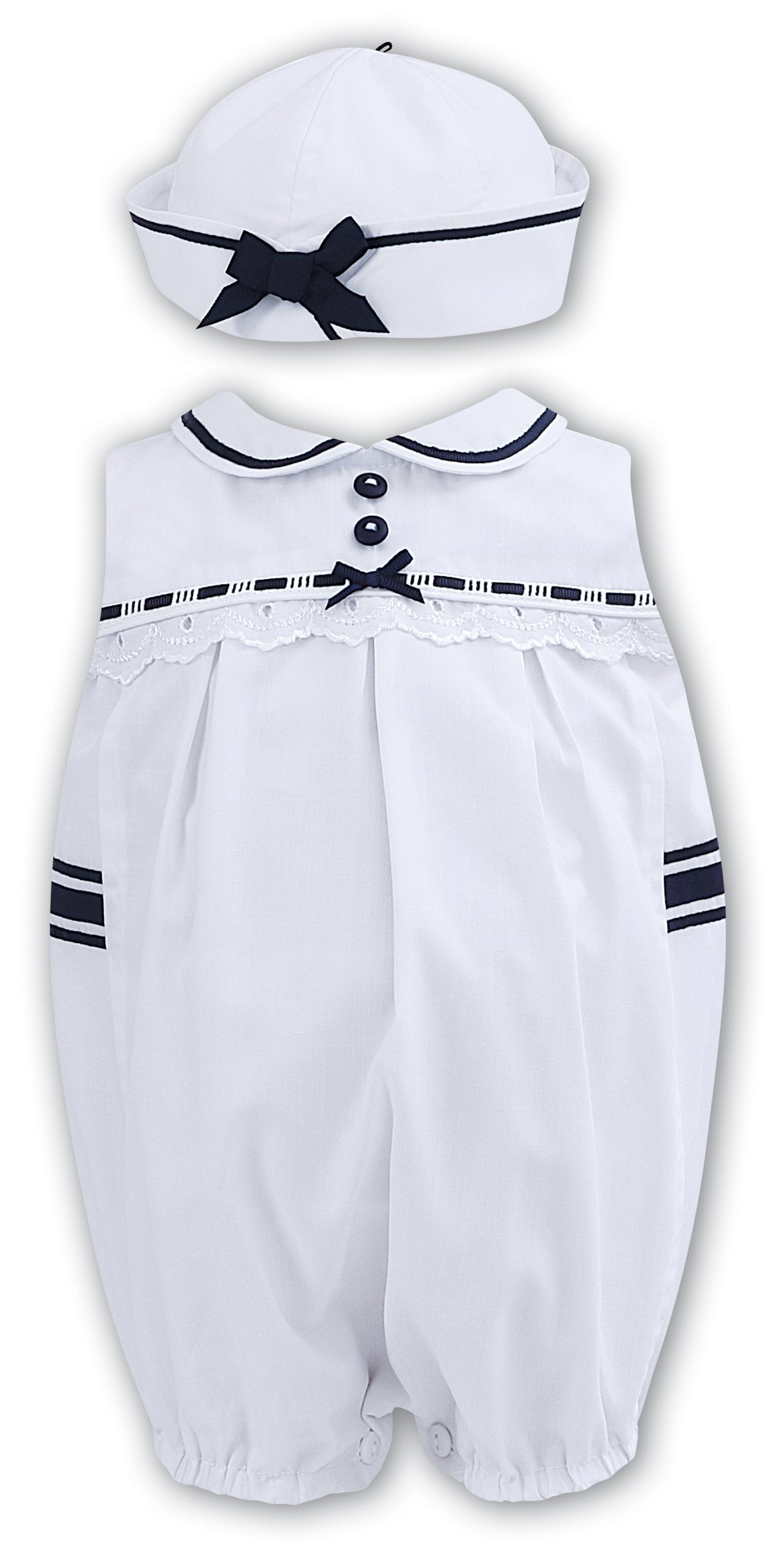 4b3028530636 Sarah Louise White Navy Bubble Romper and Hat
