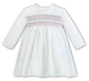 New Sarah Louise 011297 Ivory/Pink Detail Dress