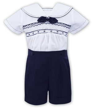 Sarah Louise 011503 Navy Shirt and Shorts Set SS20