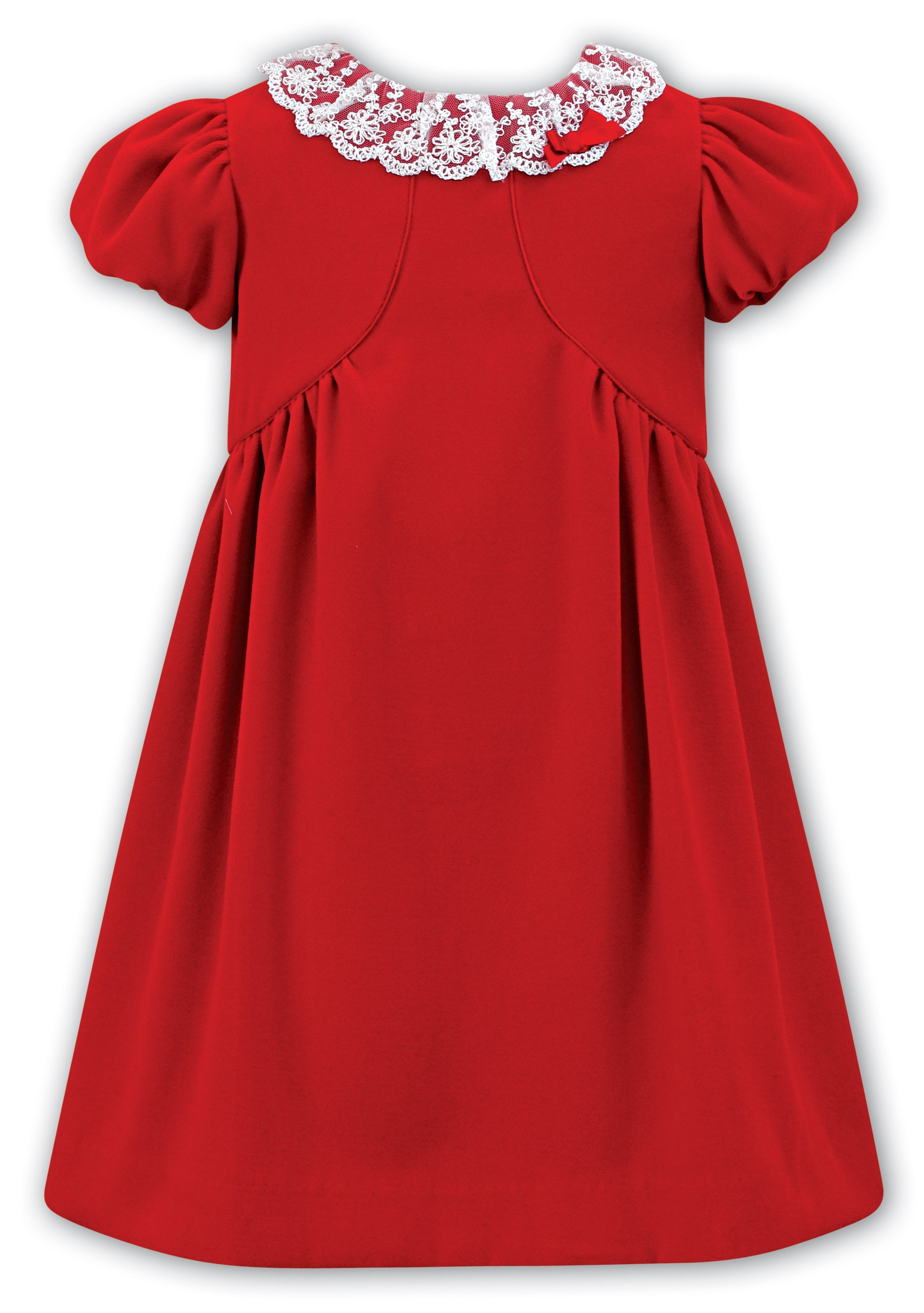 899c929c4c89 Sarah Louise lined red dress with gorgeous lace and bow detail to collar