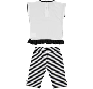 Sarabanda Black And White striped Capri Legging Set