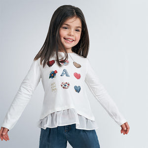 Mayoral 4063 010 Long Sleeve Hearts T-shirt AW20