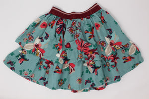 Catimini Teal Floral Skirt