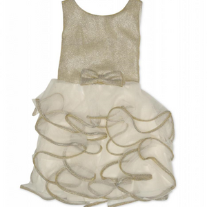Kate Mack 129PGC Cream And Gold Ruffle Skirt Dress  Gold glitter dress from Kate Mack featuring an ivory ruffled tulle skirt with gold glitter trim to each seam and a beautiful gold bow to the waistline. The dress is fastened at the reverse by a zip closure.   Features:  Sleeveless 100% Polyester Hand wash only