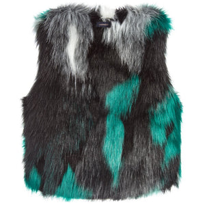 Catimini gorgeous sleeveless gilet made from light and dark tie dyed faux fur.