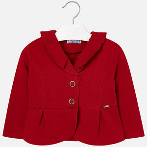Mayoral 4400 010 Red Plush Ruffle Cardigan