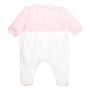 Emile et Rose Pale Pink Babygrow With Bow Embroidery And Mock Cardigan
