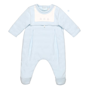 Emile et Rose Pale blue Babygrow With Detachable Bib And Mitts