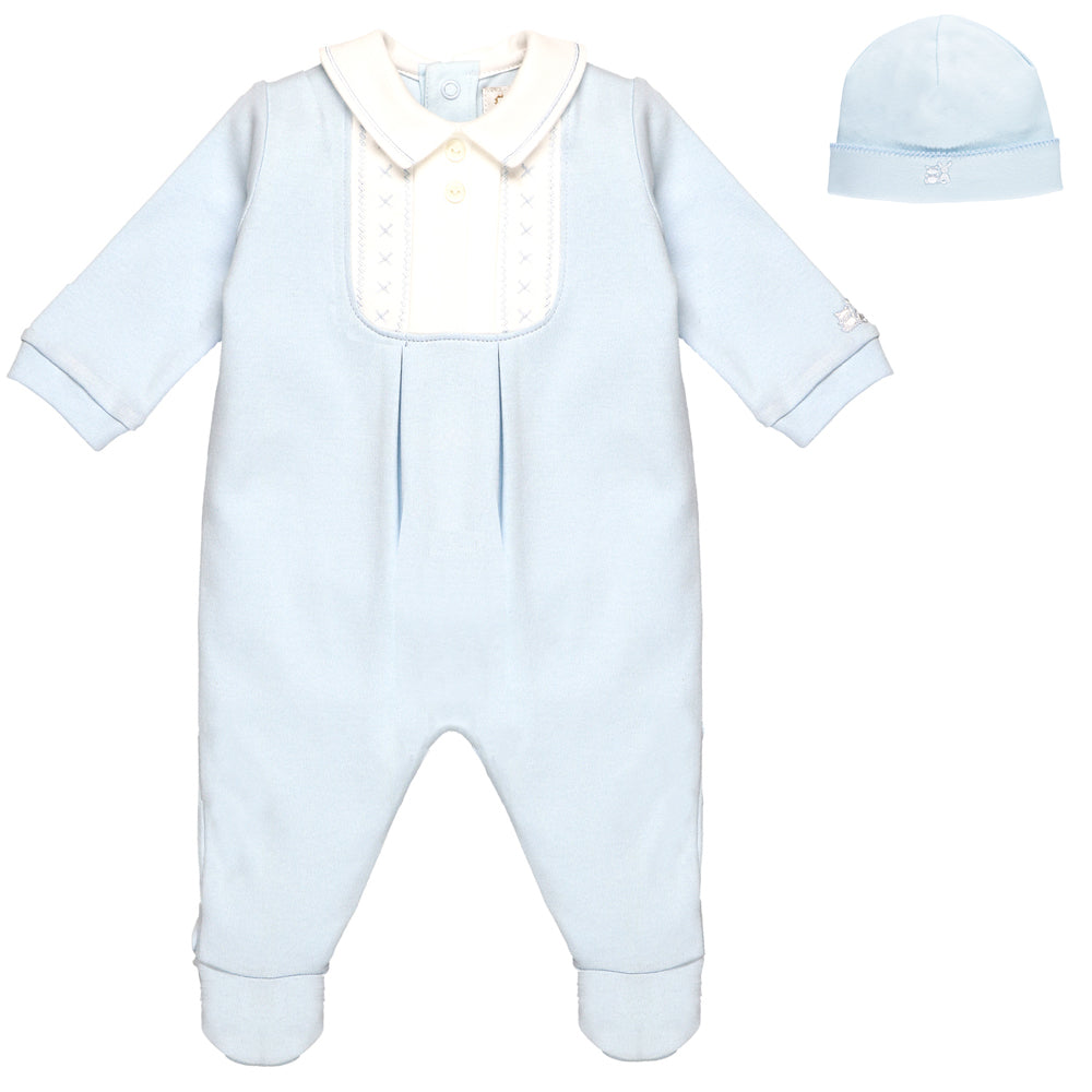 1a631db93913 NEW Emile et Rose Pale Blue Babygrow with Embroidered Yolk And Hat ...