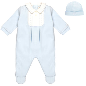 Emile et Rose Pale Blue Babygrow with Embroidered Yolk And Hat