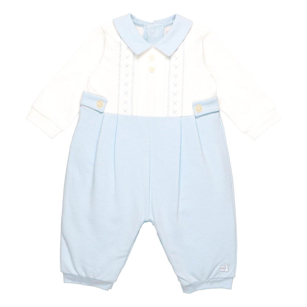 06f3c8896918 NEW Emile et Rose Pale Blue Romper With Embroidery Detail With Yoke