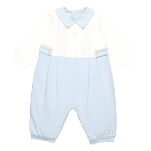 Emile et Rose Pale Blue Romper With Embroidery Detail With Yoke