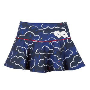 Catimini CM27055 Navy Cloud Design Skirt  Navy multi tone cloud print skirt featuring a pop of red from the satin piping. The panelled pique style gives a sporty look and the applied clouds give a fun element to the skirt.  Features:  Concealed zip to back of skirt Adjustable elastic waist  95% polyester, 5% elastane (lining is 100% cotton)