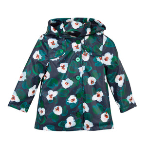 Catimini CM42095 Floral Windbreak  Practical and stylish raincoat with a soft fleecy lining made from a waterproof UVC fabric. The green and ivory flowers sit on a sweet navy background. The addition of the hood makes this the perfect raincoat for them autumn and winter showers.  Features:   100% polyester & polyurethane Lining: 100% polyester fleece Machine washable at 30C Fastens with zip & buttons