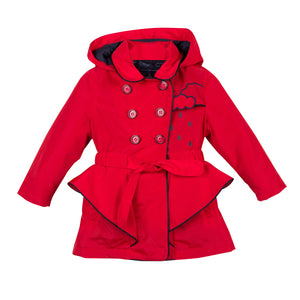 Catimini CM44075 Red 3IN1 Coat  3 in 1 Catimini raincoat. Featuring clouds embroidered on the front, a detachable hood and tie up belt around the waist. The interior navy waistcoat may be worn for extra warmth within the red coat or can be worn individually.  Features:   ncludes additional interior coat Button front fastening, embroidered detail 100% Polyester Machine washable at 30C