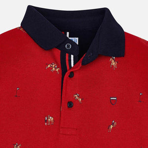 Mayoral 4108 Long Sleeve Patterned Polo Shirt AW19