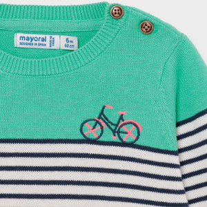 Mayoral 1340 039 Aqua Striped Sweater SS21