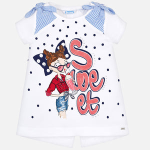 Mayoral 3005 090 Short Sleeved Bow T-Shirt