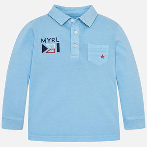 NEW Mayoral 3127 024 Glass Long Sleeve Polo Shirt