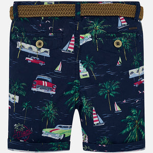Mayoral 3235 077 Steel Blue Printed Shorts With Belt