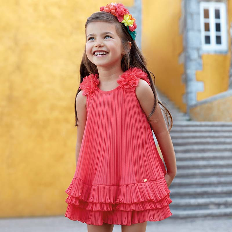 8d3b1a8c1b NEW Mayoral 3926 059 Coral Pleated flowers Dress