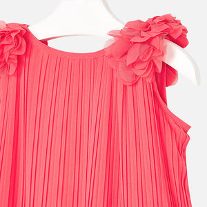 NEW Mayoral 3926 059 Coral Pleated flowers Dress