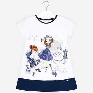 NEW Mayoral 3945 074 Navy Shopping Dolls Dress