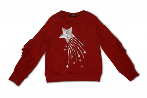 Kate Mack 547HMC/HME1 Red Shooting Star Tunic  This red sweatshirt features ruffle detail to the sleeves and a silver shooting star appliqué design to the front.   Features:  100% Polyester Machine washable at 30C