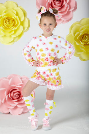 A Dee S202508 Blair Rose Print Sweatshirt and shorts Set SS20