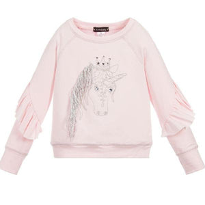 Kate Mack 503UDC/E Unicorn Sweatshirt And Silver Pleated Skirt